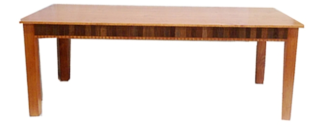 David Marsh 7 ft dining table with recycled wood slats on the apron