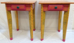 Small matching tables in bright colors